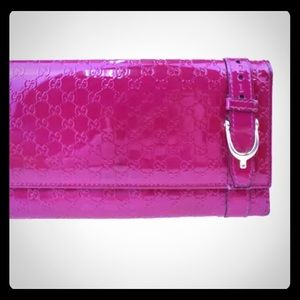 GUCCI Micro GG Pink Patent Leather Clutch/Wallet